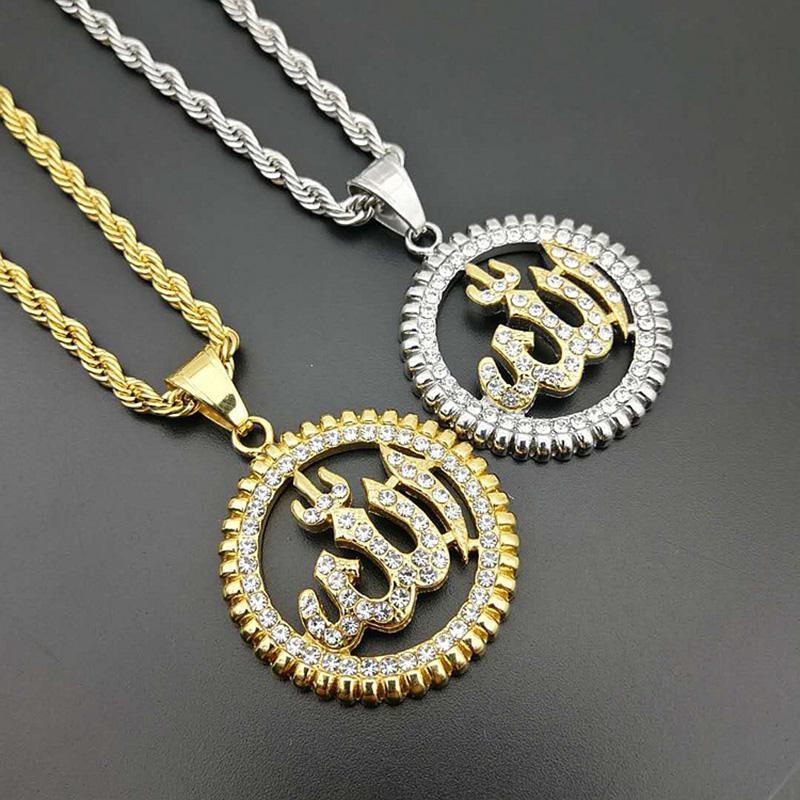 Hip Hop Стразы Золото Серебро Цвет Нержавеющая сталь Holow Круглый Ислам Мусульманский кулон ожерелья для мужчин Ювелирные изделия