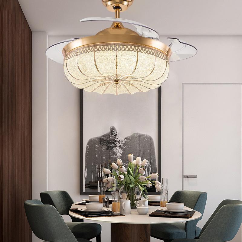 Ventilateurs électriques Crystal Plafond Ventilateur lumineux Salon Chambre à coucher Maison calme Restaurant avec lumières