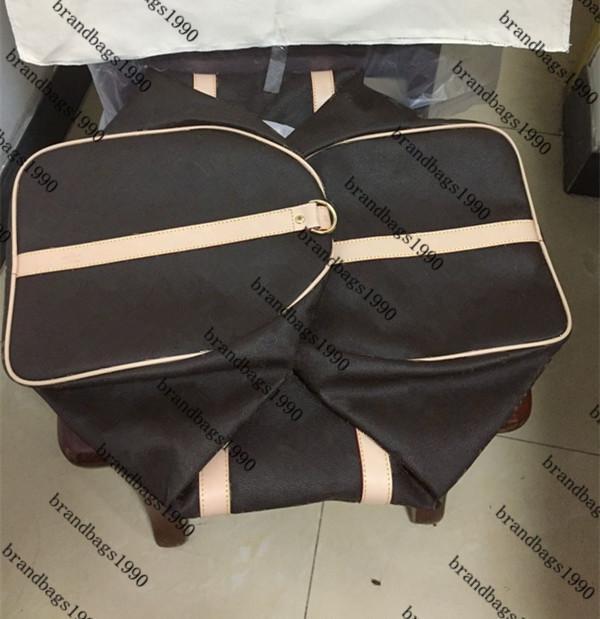 55cm 50CM 45cm Borse moda classica Uomini borsa da viaggio Trim sacchetto dei bagagli montgomery in vera pelle con trasporto morbida Canvas Handbag libero