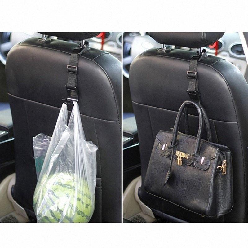 1pcs del coche universal de alta calidad duradera Práctico Organizador Percha apoyo para la cabeza del asiento trasero del gancho de la suspensión del bolso de almacenamiento Para 9rd7 #