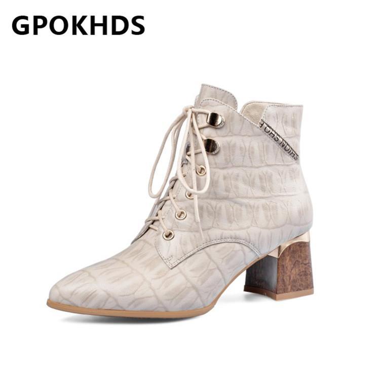 Ботинки GPokhds 2021 Женщины Лордовые овчины Зима Короткие плюшевые заостренные носки на молнии высокие каблуки женские размеры 43