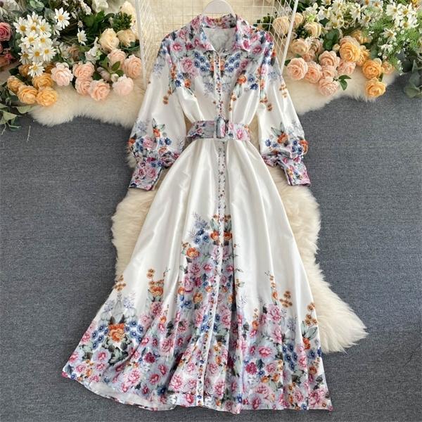 Vestido largo de las mujeres de la vendimia Nueva primavera y verano de manga larga con cinturón vendaje vestidos de las señoras de la blusa de la impresión floral de la playa del vestido maxi 0922