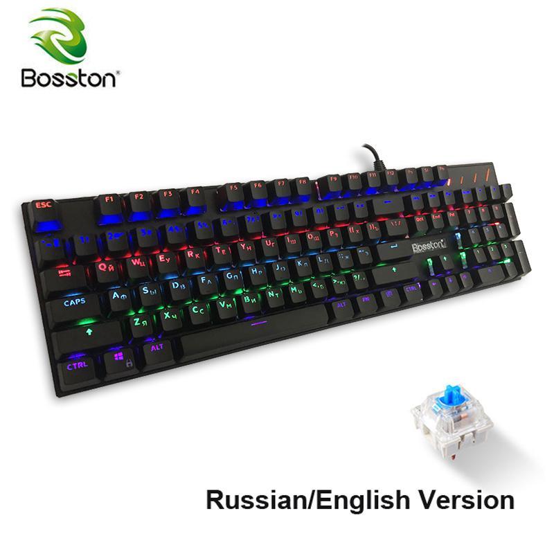 BOSSTON Inglês Russian Gaming Keyboard Mecânica Anti-ghosting Led Teclados luz de fundo para PC Portátil 104 KeyCaps Azul Chave