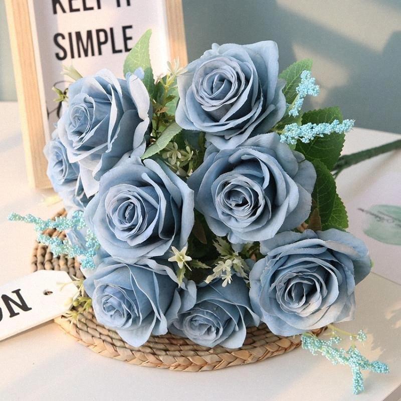 Yapay Mavi Güller Çiçek İpek Gül Çiçek Buket Yapay Çiçekler Ev Bahçe Dekorasyon Düğün Güller Sahte jWJV #