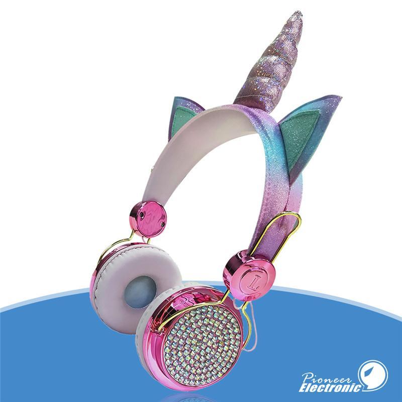 Unicorn Crianças headband menina bonito que estuda fone de ouvido Bluetooth fones de ouvido 3,5 milímetros proteger ouvindo fones de super brilhantes com microfone com caixa