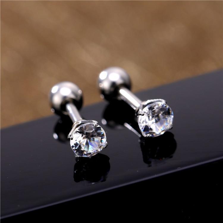 wmrv2 Crystal Fashion diamante rosa zircão ultra-flash de cristal brincos de aço pequena brincos de diamante de titânio
