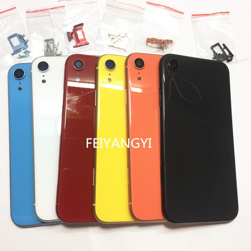 1/6/10pcs A quality for iphone XR Full Housing Battery Back Cover Replacement with Frame Back Glass Free Shipping