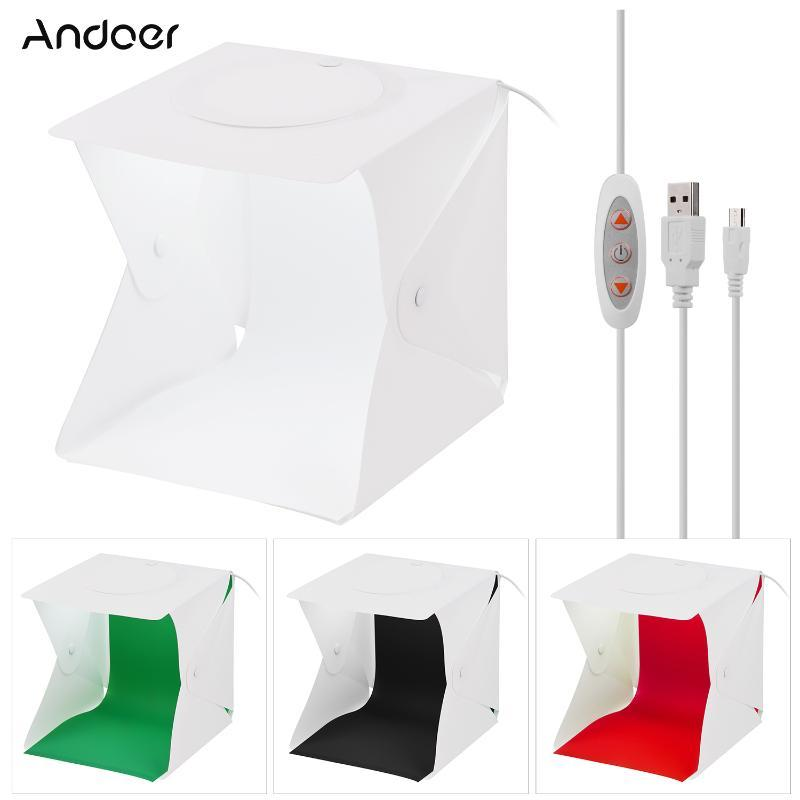 22 * 23 * 24см Складной студии Light Box LED Фото Фото тент Softbox 5500K с белой Черным Зеленый Красных фонами