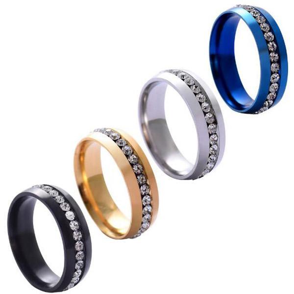 Erkekler Kadınlar Düğün Paslanmaz Çelik Bant Yüzük Nişan Parti Hediye Boyut 6-12 Altın Gümüş Siyah Mavi