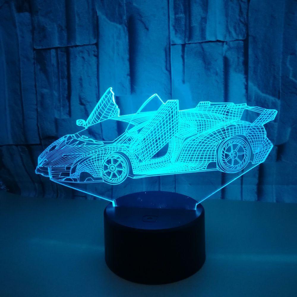 Yaratıcı 3D Küçük Masa Lambası Reklam Yaratıcı Hediye 3D Görsel led Spor Araba Renkli Dokunmatik Anahtarı Masaüstü Gece Işık ışıkları