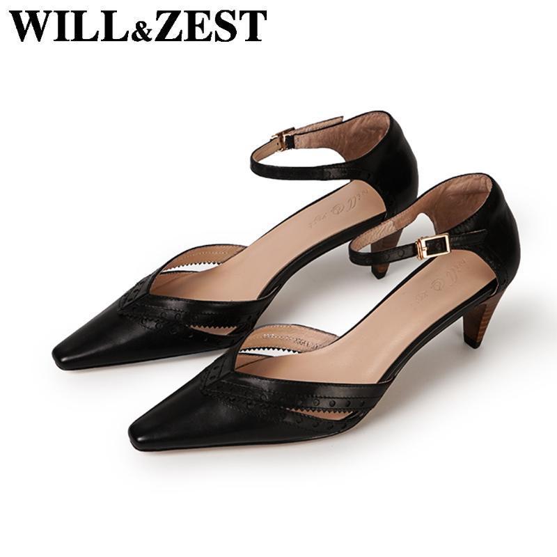 Sandálias de dedo WillZest cinzelado fechado saltos pretos Bloco Arraste Shoes Mulher Bomba Escritório das senhoras Feminino Verão Handmade Fantasia