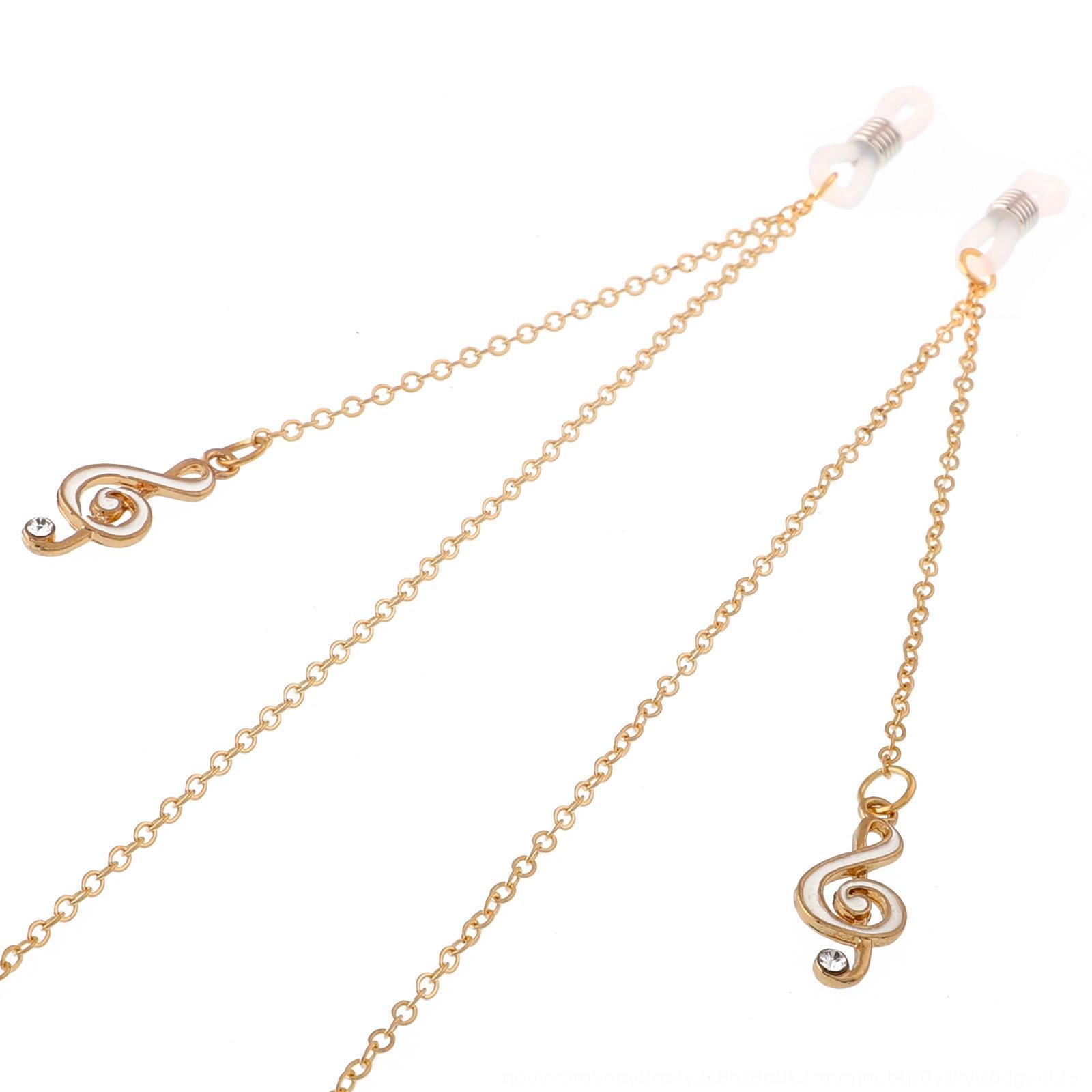 Crf13 Kaymaz aksesuar aksesuarlar metal halat Altın elmas taklidi notları Kaymaz aksesuarları zinciri kolye aksesuar metal gözlük ipi Altın