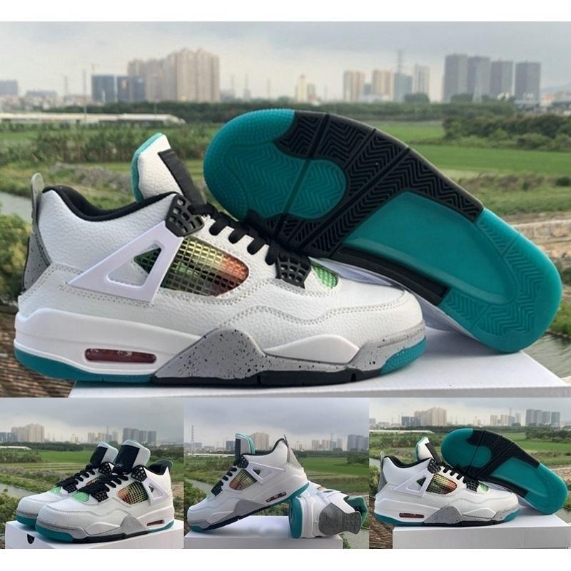 cesti Nuova Pallacanestro Rasta 4 Scarpe 4s Mens Carnevale Lucid Verde Bianco progettista del cuoio Jumpman Sport Sneakers Trainers des Chaussures off