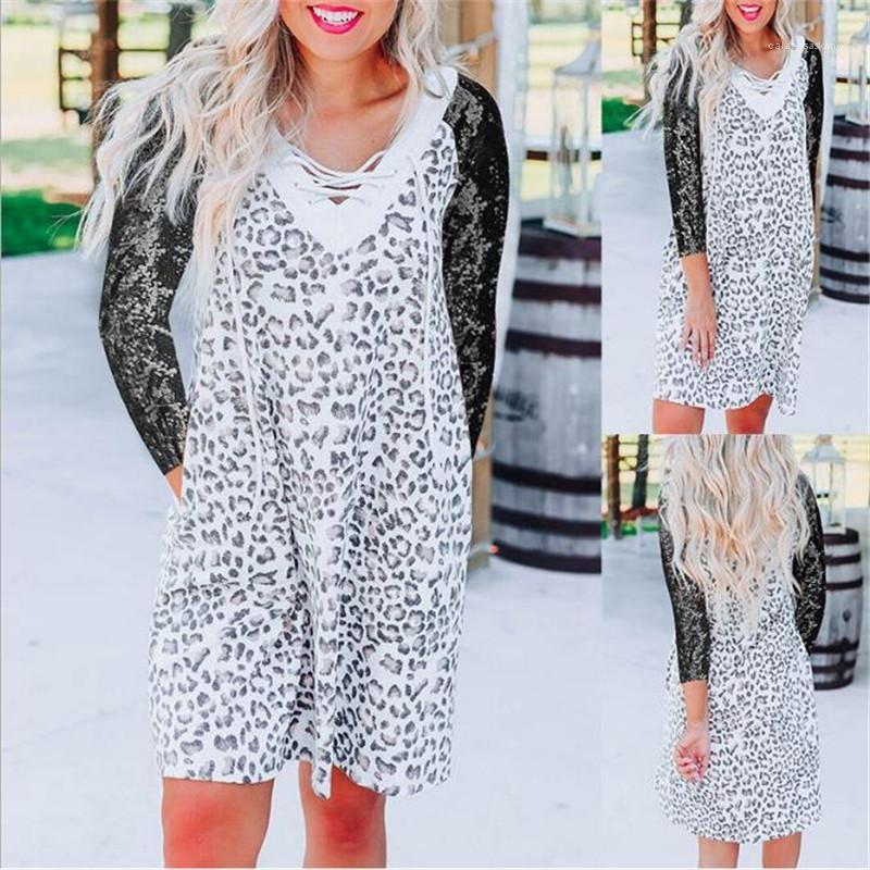 Dresses Long Sleeve V Neck Print Dress Fashion Sexy Mini Dress Female Clothing Womens Designer Luxury Casual