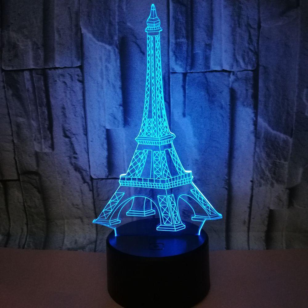 Creative 3D led LED tactile Interrupteur Lampe de table colorée Tour Eiffel Vision stéréo Lumière Télécommande Gradient Night Light 3D