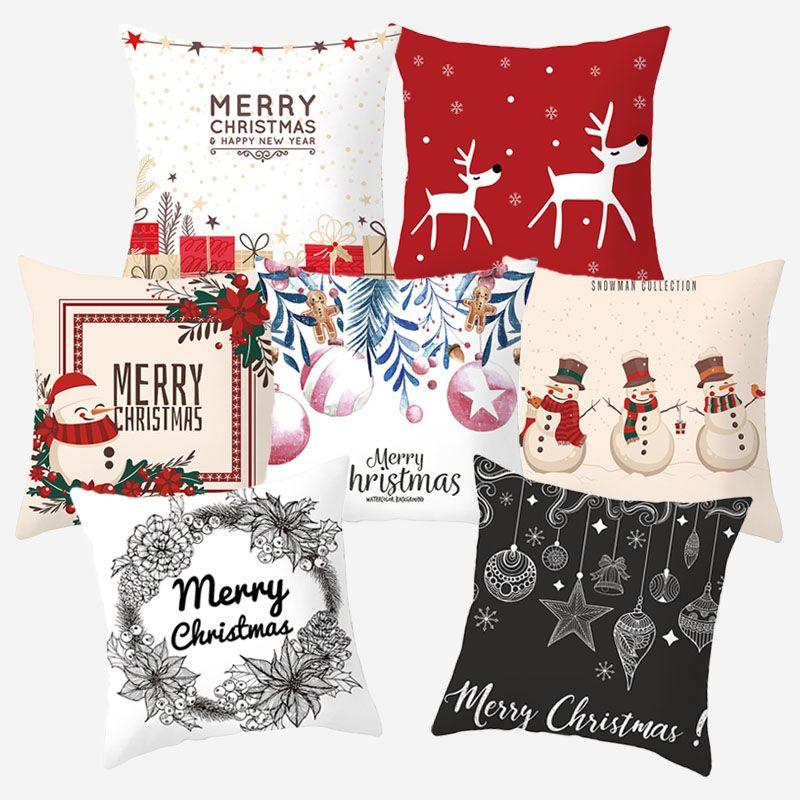 Snowman Deer Weihnachtsmann Printed Kissenbezug Dekorative Kissen Weihnachten Frohes Neues Jahr dekoratives Sofa Kissen Kissenbezug