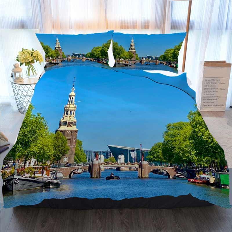 Designer 3D Stampato Buon Natale Bedding Set Amsterdam Copripiumino letto trapunte Set 100