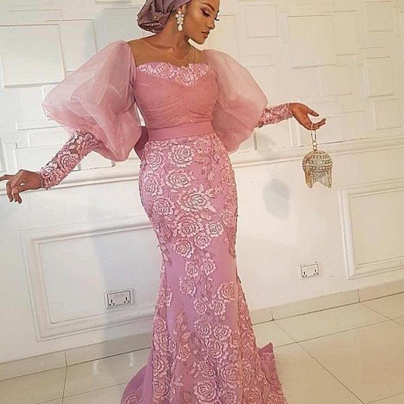 Manches bouffantes sirène robes de soirée Aso Ebi dentelle robe de bal plus Appliques Taille Sheer cou Party formelle Robes