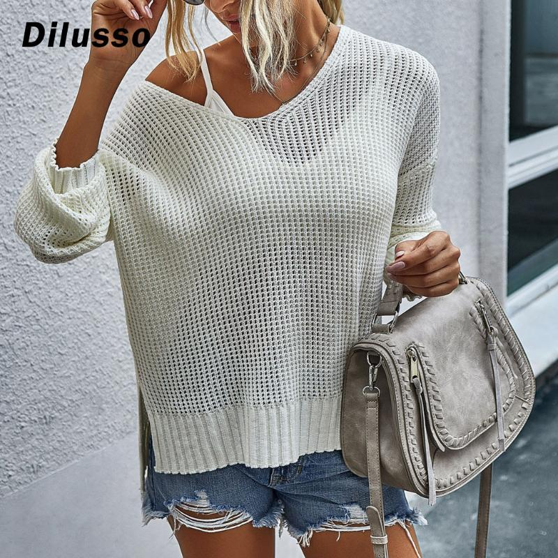 Women Fashion V-neck Loose Pullover Sweater Solid Color Long Sleeves Sweater Casual Autumn Winter Sweater#D3