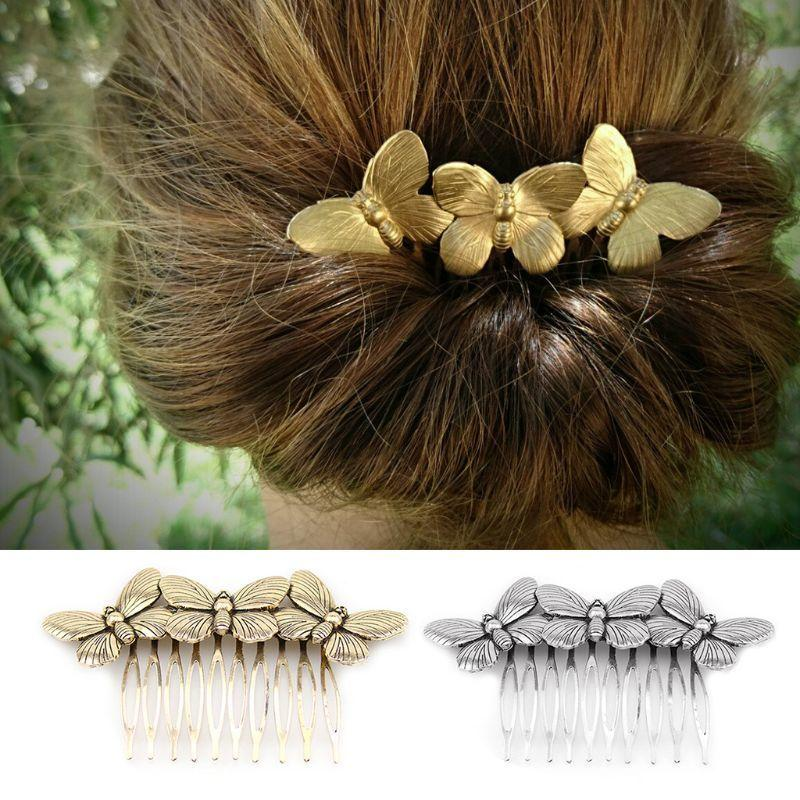 Forest Style Minimalist Metal Alloy Headdress Vintage Insect Wings Gold Silver Hair Comb Wedding Bridal Jewelry Hairpin