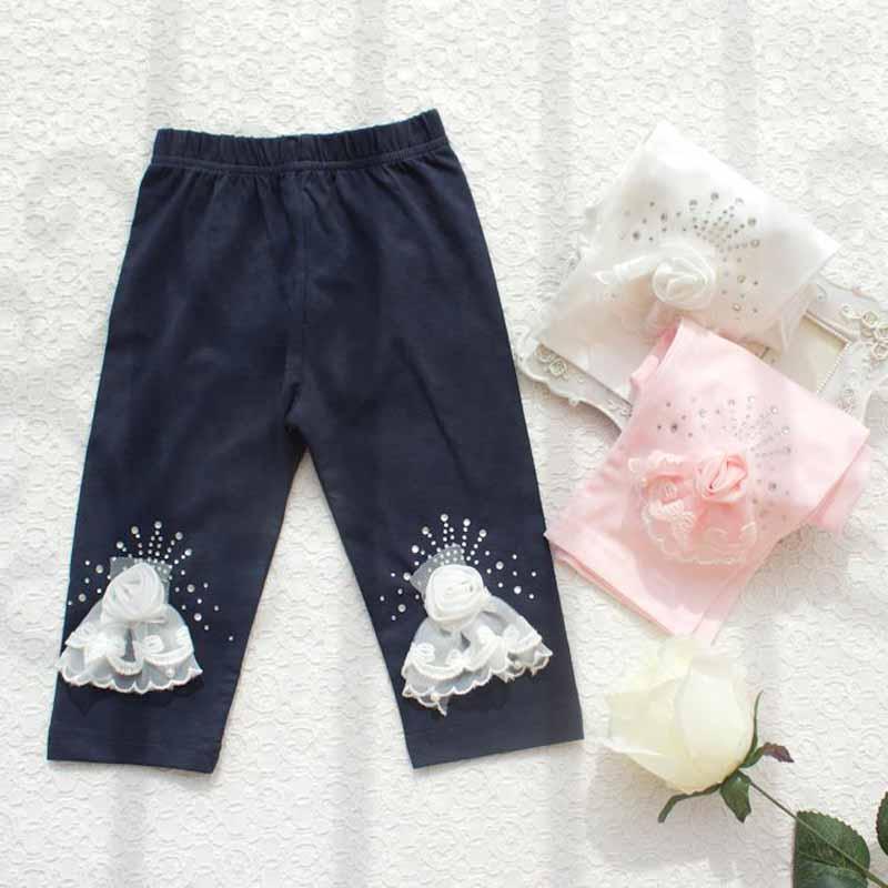 Bebés Meninas Princesa Verão Calças Crianças strass 3D Rose Flor Leggings Verão Lace de volta à escola Capri Calças Roupa Crianças