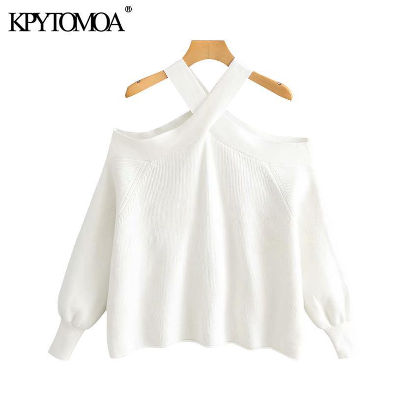 Stylish Vintage Strapless solto camisola de malha Mulheres 2020 Moda O Long Neck Sleeve Feminino Pullovers Chic Tops Y200910