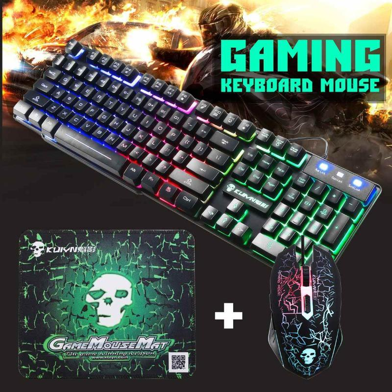 2400DPI LED Gaming Mouse Key Board USB Wired Ergonomic Keyboard Set Colorful Backlight Combo with Gaming Mouse Pad Backlit