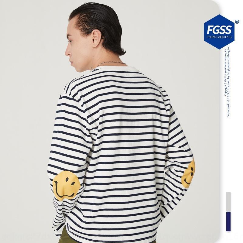 Kapital Man20 Sonbahar Yeni Moda Marka Çizgili T-shirt Çift Kol Gülen Yüz Baskılı Yuvarlak Boyun Erkekler ve Kadınlar Için Gevşek Uzun Kollu T-shirt