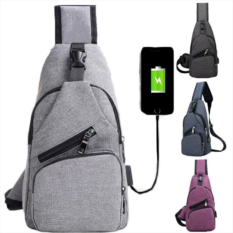 2019 más nuevos hombres ocasionales de la manera simple paquete de la cintura USB robo de Conveniencia Puerto del cargador anti pechera Mochila de hombro bolso de la honda