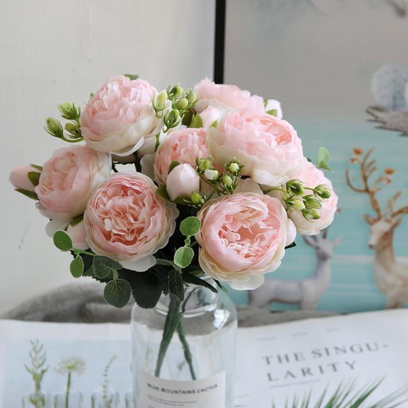30cm Rose Pink Peony de seda flores artificiales Ramo 5 Big Head y 4 Fake Flowers Bud baratos para la decoración del hogar de la boda de interior