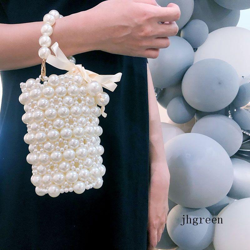 2020 New Handmade Imitation Pearl Bag Female Self-made Beaded Fashion Wind Cross-body Handbag Pocket Change Cell Phone Classic Bag