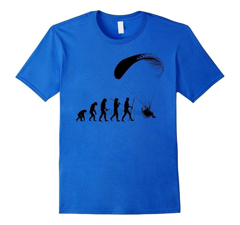 Evolução do homem Paramotor marca de moda camisetas Homens verão posters T-shirt Casual Men Marca Customize camisetas