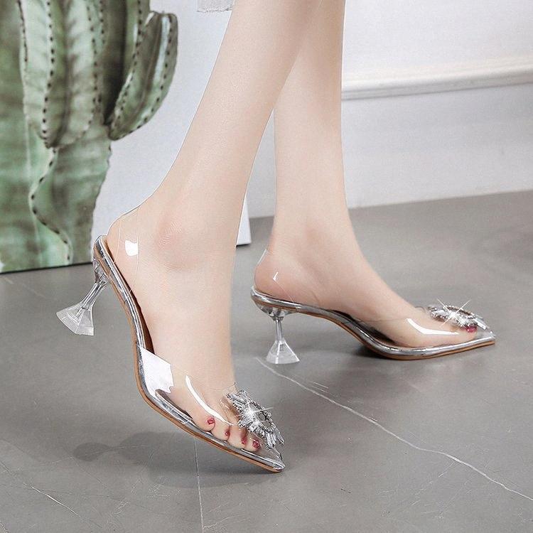 Net Kırmızı Transparan Sandalet Bayan Yaz 2020 Yeni Alan ile Güzel Yapay elmas Seksi Baotou L Yüksek Topuklar vV8H #
