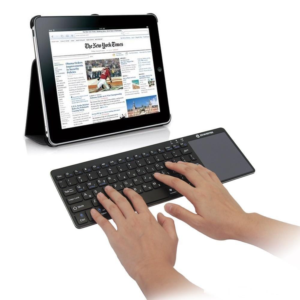 De alta qualidade teclado ultra slim sem fio Bluetooth Zoweetek K12BT-1 Touch Pad Fina Luz portátil para Android 3.0 Windows XP 7 8