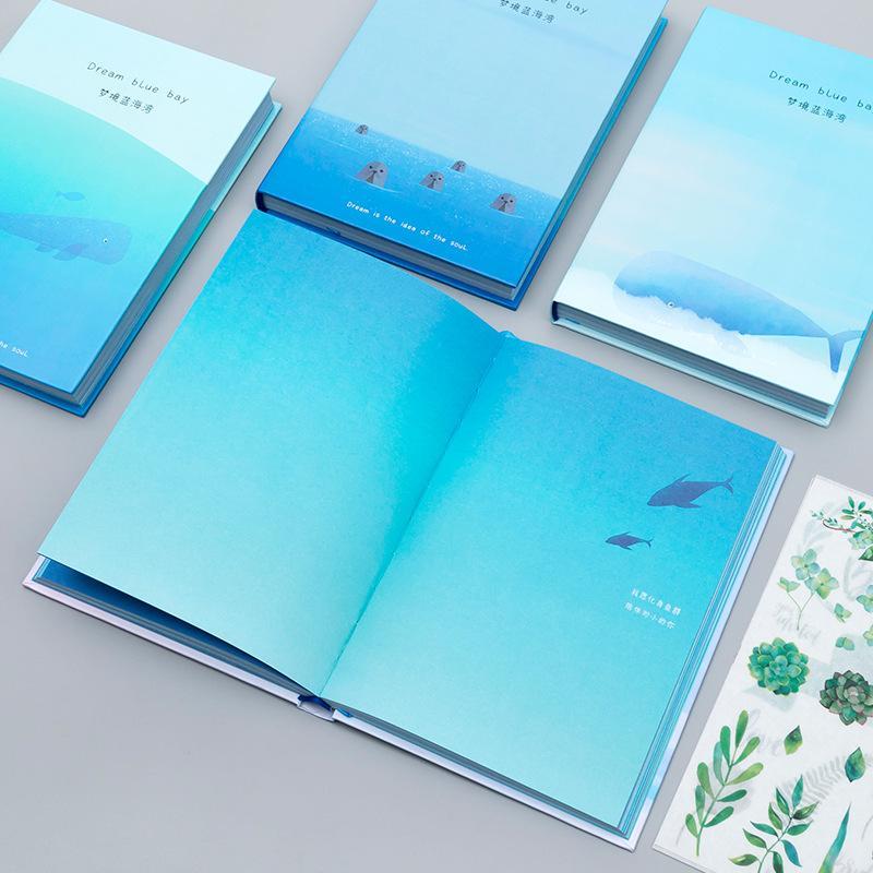 Fontes tendência Creative Color Pages A5 Notebook Little Blue Bay Diário livro de capa dura diário Papelaria Coréia escola