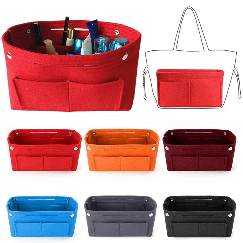Feltro forma compo o saco Multi-bolso de grande capacidade Tote Mulheres Inserir bolsa de viagem organizador maquiagem cosméticos Bags
