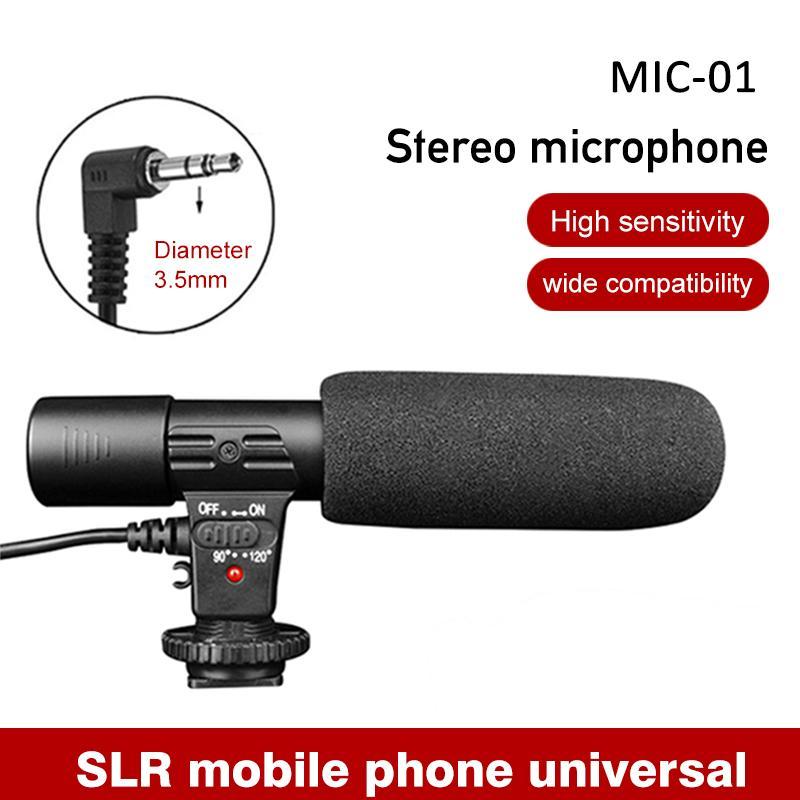 MIC-01 Стерео микрофон видеокамеры Фото Видео Mic для Nikon Canon DSLR камеры компьютера мобильный телефон микрофон для