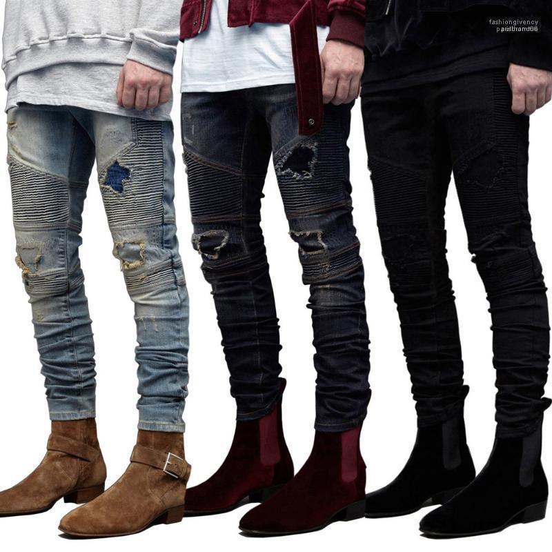 Fit GD Biker Jeans Mens Ripped dökümlü Tasarımcı Delikler Kalem Jean pantolon Pantalones İnce
