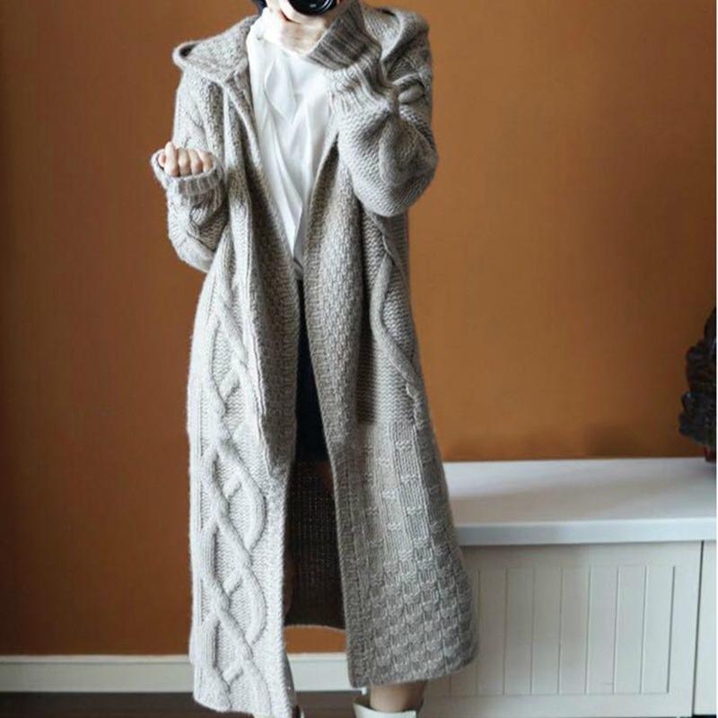 Lucyever Moda Torção coreano Brasão Mulher Sólidos Casual Aberto ponto Coats Mujer T200910 malha Longo Cardigans Loose Women Camisola encapuçado