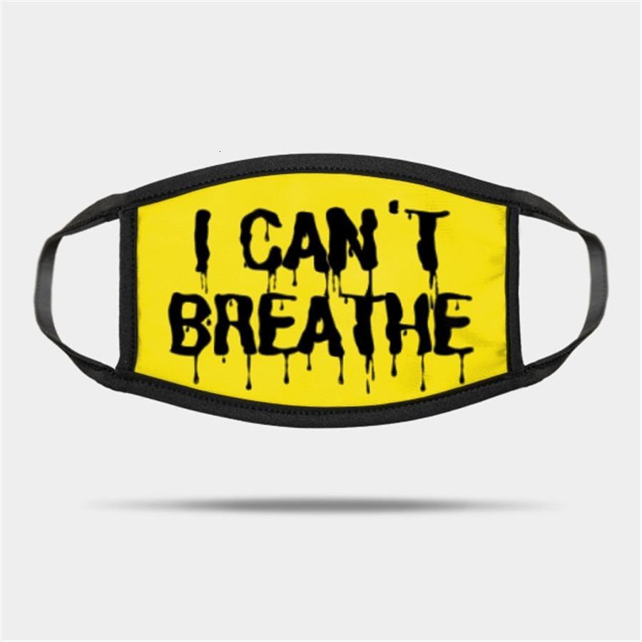Non posso Breathe Viso 2020usa cotone lavabile maschera nera Abita Matter Moda maschere per adulti Lettera Stampa Maschere panno DENER # 236