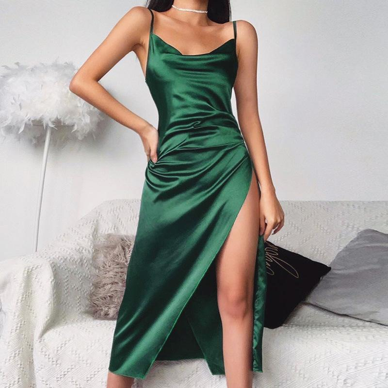 2020 Club Women Europe America Green Thinner Summer Chest Overlapping Pink Cross Make Dress Party Smooth Low Criss Wear Sexy Gjkof