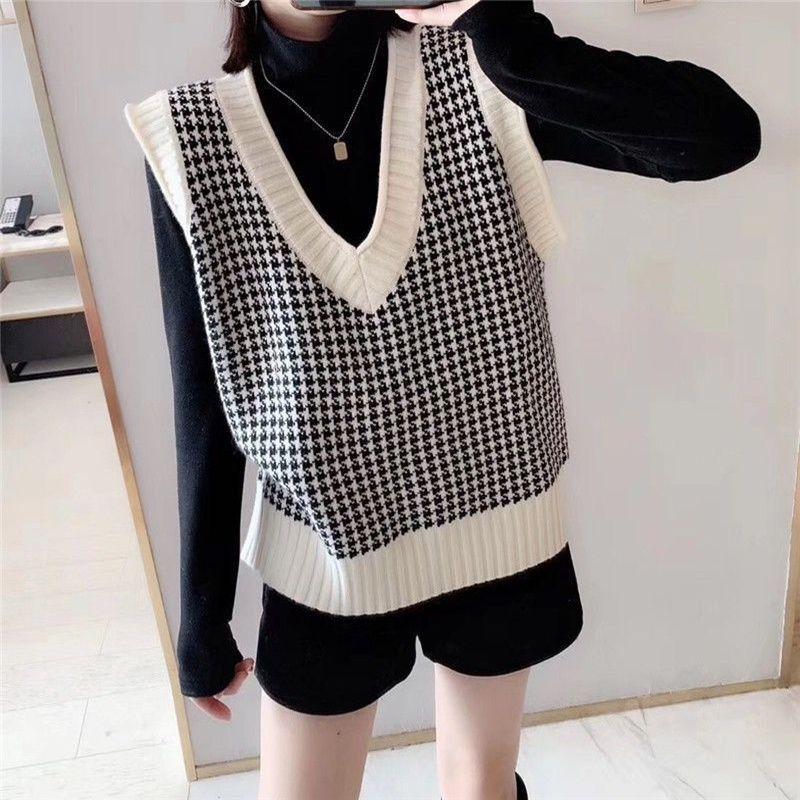 Angora Knit maglia di inverno le donne del maglione coreano Vintage Houndstooth geometrica plaid con scollo a V senza maniche del ponticello del pullover Top 200918