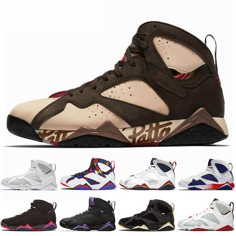 2020 New Jumpman 7s Mens Basketball Shoes Patta Tinker Alternate GMP Olympic French Blue Pure Money Leather Mens Trainers Sports Sneakers