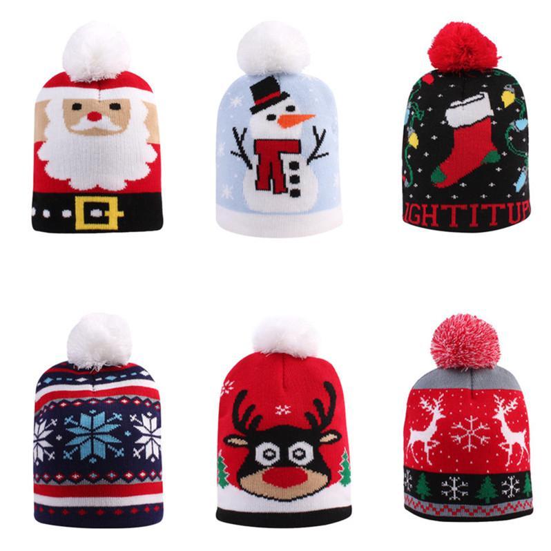 Christmas Baby Girls Boy Knit Hat Toddler Warm Crochet Hats Designer Santa Claus Snowman Knitted Skull Beanie Cap Childs Kids Hats D91004