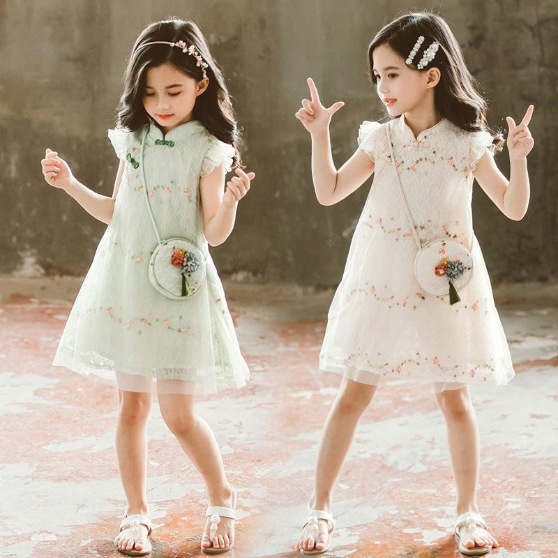 Kızlar cheongsam 2020 Yaz yeni prenses elbise çocuk batı tarzı etnik tarzı kız prenses elbise q5iSv