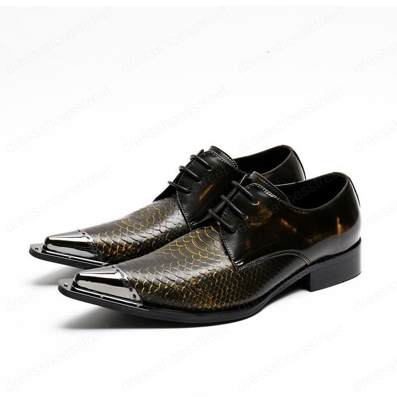 Affaires Nightclub Party Hommes Chaussures en cuir grande taille réel Oxfords Chaussures Toe serpent peau Pointu Derbies