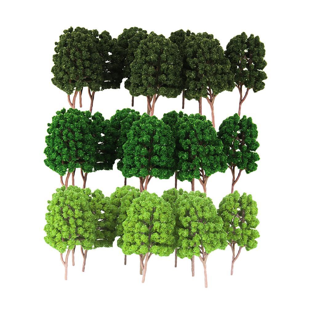 30Pcs Plastik Green Tree Modelleri Boyalı Düzen 1/100 HO Ölçek Manzara Yapı