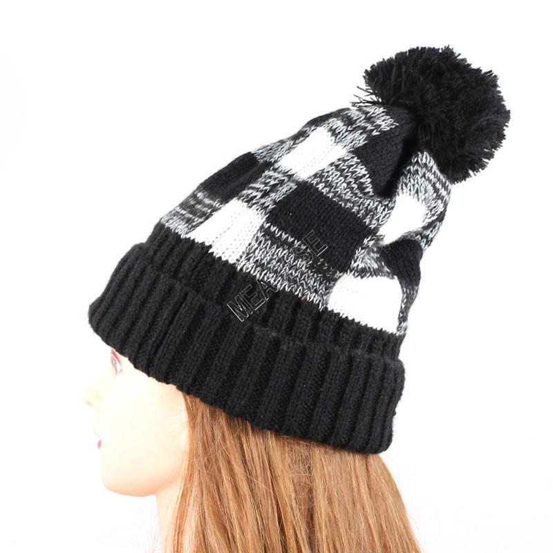 Women Knitted Hat Winter Flanged Plaid Beanies Cap with Pompon Warm Wool Caps Crochet Bonnet Beanie Party Hats Headgear Boutique D92403