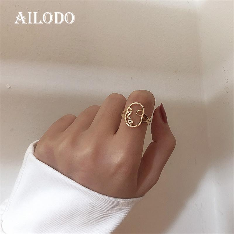 Ailodo Punk Abstract Human Face Open Rings For Women Gold Silver Color Unique Design Hollow Face Rings Fashion Jewelry 20APR35