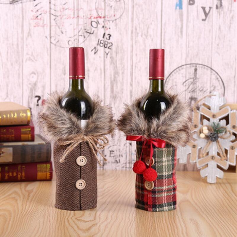 تغطية النبيذ عيد الميلاد مع القوس منقوشة الكتان الملابس زجاجة مع الزغب الإبداعية زجاجة النبيذ تغطية أزياء عيد الميلاد الديكور OOA9154